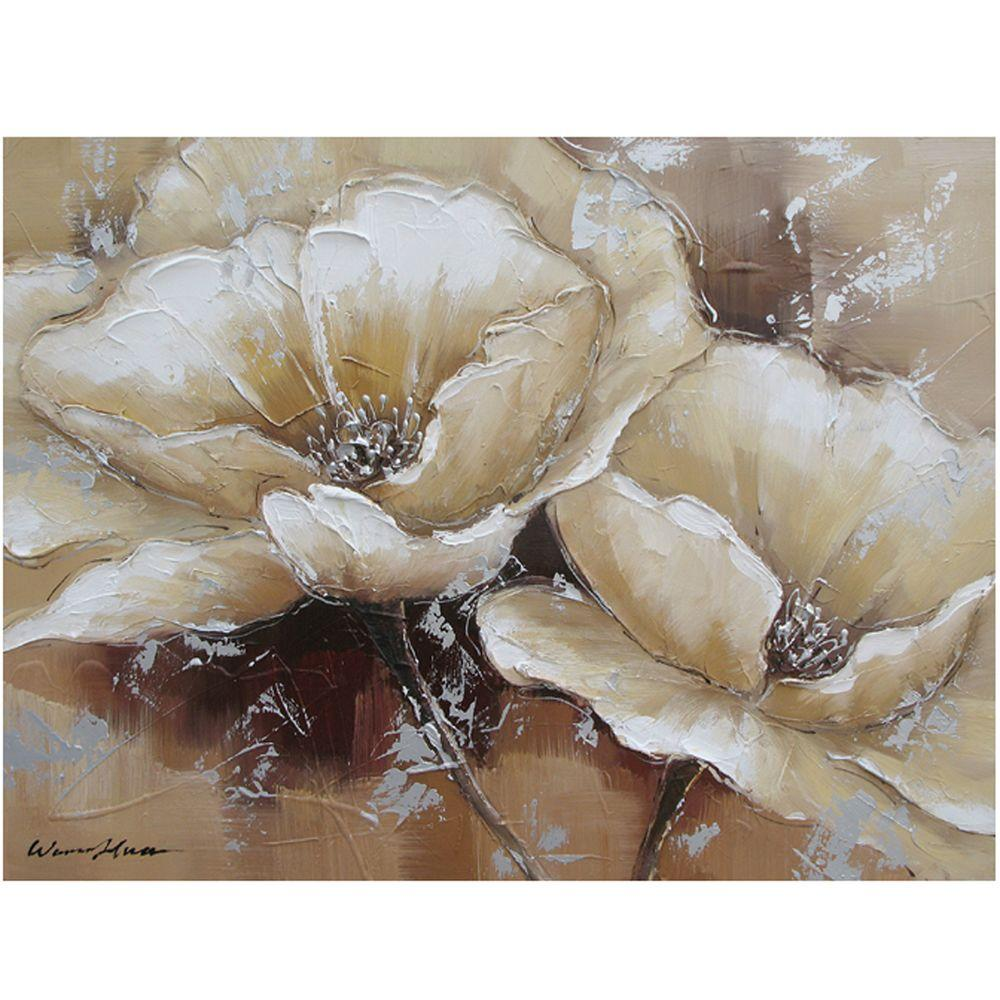 "Yosemite Home Decor 24 in. x 31 in. ""Full Bloom I"" Hand Painted Canvas Wall Art"