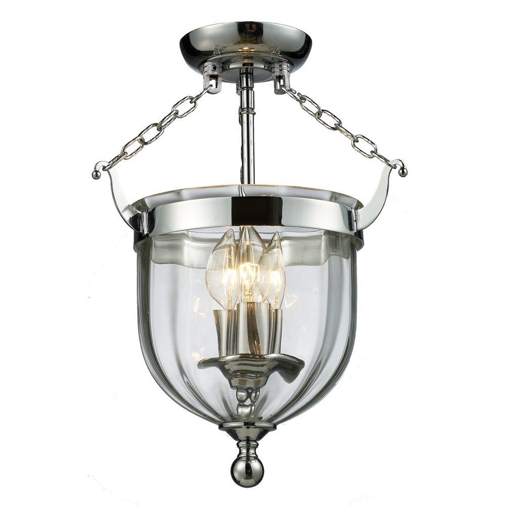 Lawrence Collection 3-Light Brushed Nickel Semi-Flush Mount Light