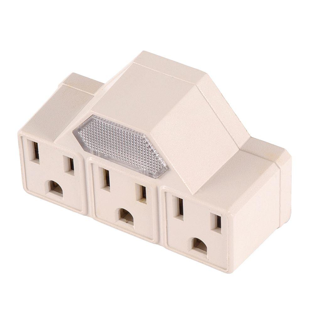 GE 3-Outlet Tap Adapter with Neon Guide - Light Almond