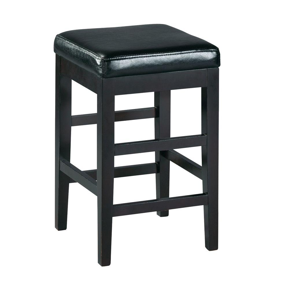 Home decorators collection 24 in black cushioned bar stool 3769320210 the home depot Home depot wood bar stools