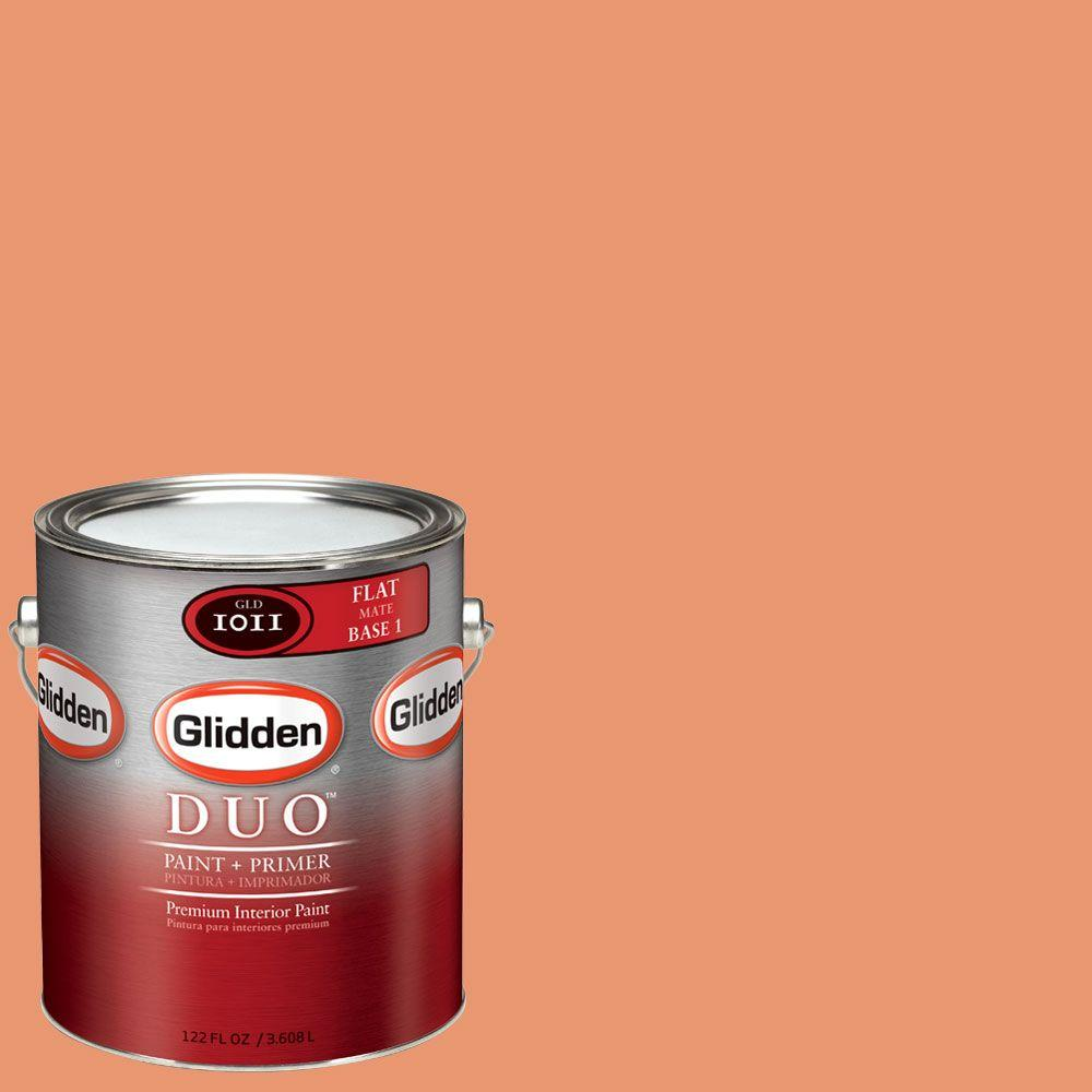 Glidden DUO 1-gal. #GLO23 Ripe Apricot Flat Interior Paint with Primer