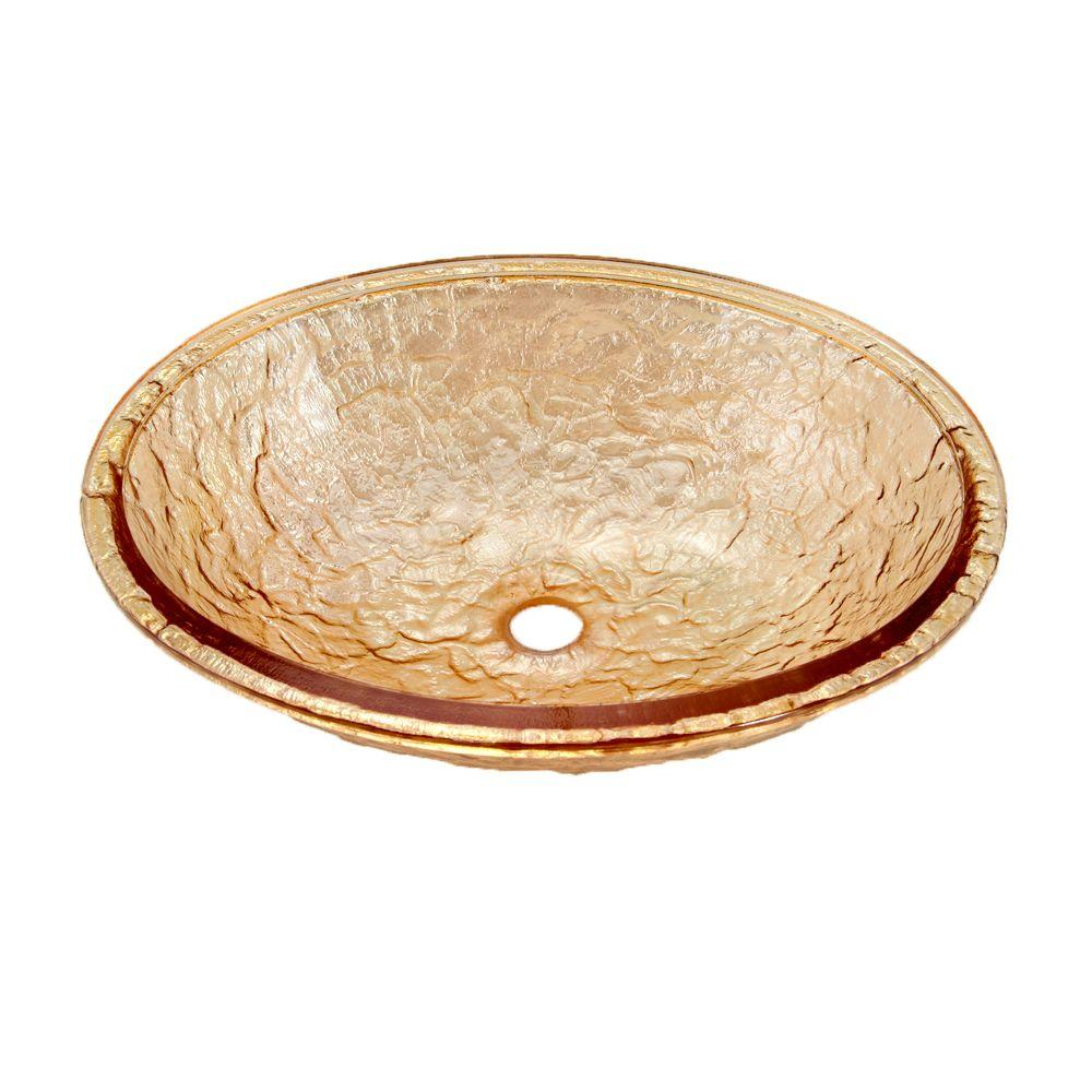 JSG Oceana Undermount Bathroom Sink in Champagne Gold with Overflow-DISCONTINUED