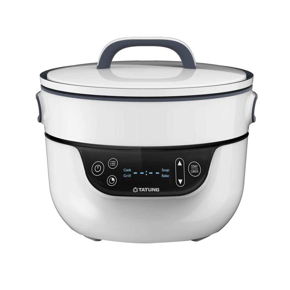 Tatung Fusion Cooker and Waterless Pot, White With Black ...