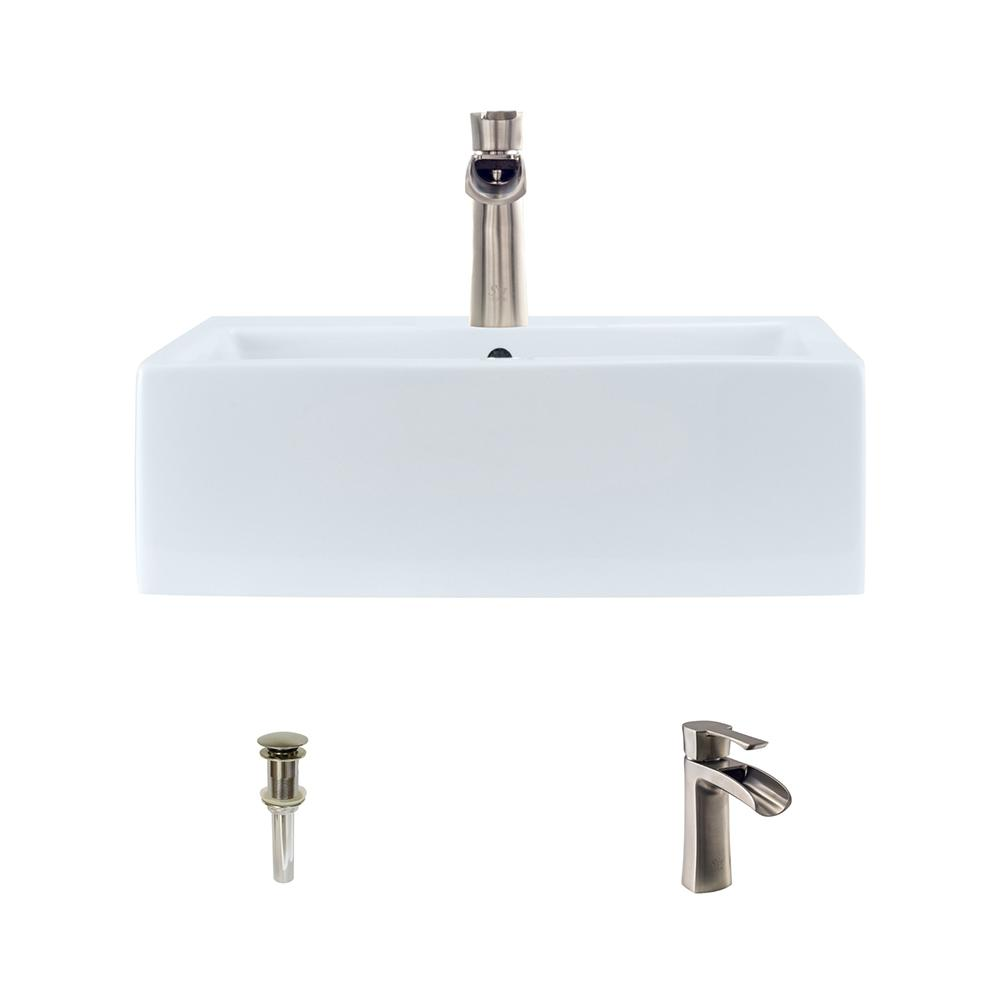 Porcelain Vessel Sink in White with 732 Faucet and Pop-Up Drain
