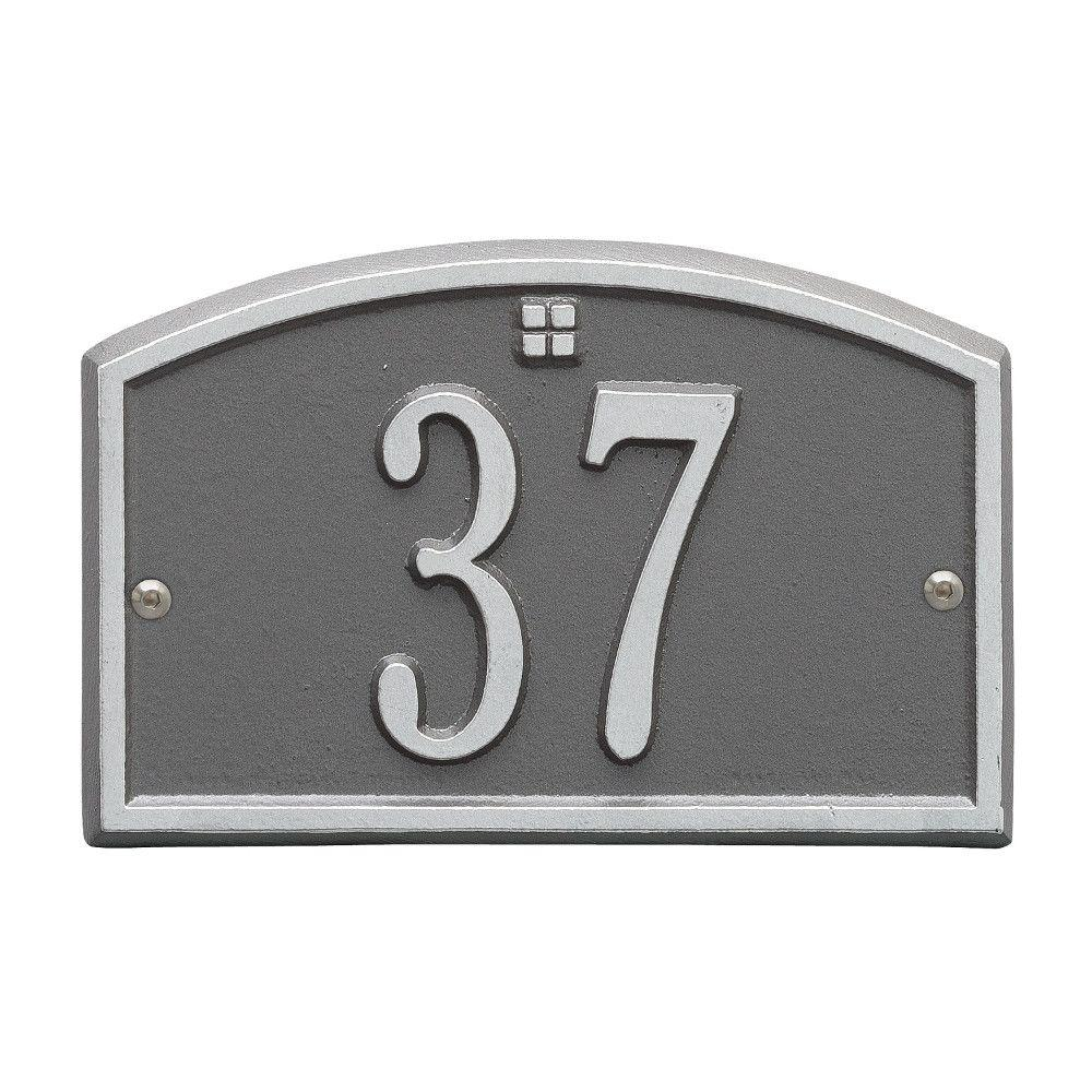 Whitehall Products Cape Charles Rectangular Pewter/Silver Petite Wall 1-Line Address Plaque