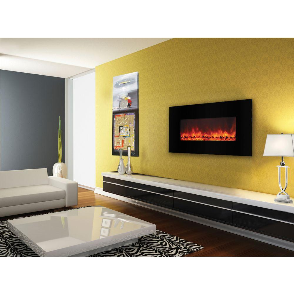 Yosemite Home Decor Carbon Flame 40 In Wall Mount Electric Fireplace In Black Df Efp1000 The