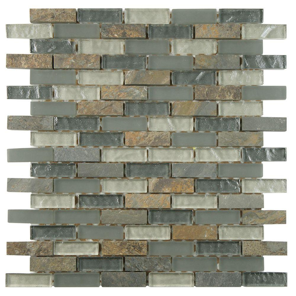 Merola Tile Tessera Subway Wisp 11-3/4 in. x 11-3/4 in. x 8 mm Glass and Stone Mosaic Tile, Multicolored Grey/Mixed Finish