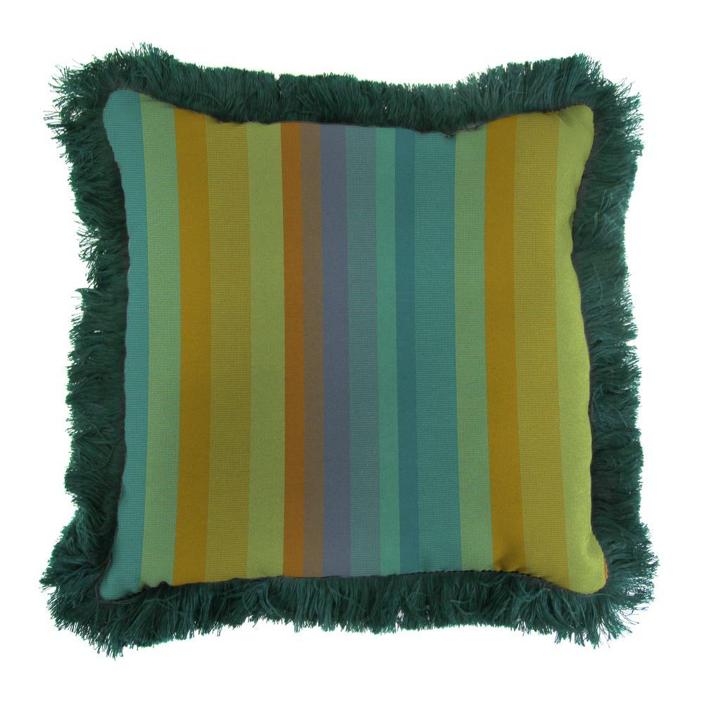 Jordan Manufacturing Sunbrella Astoria Lagoon Square Outdoor Throw Pillow with Forest Green Fringe