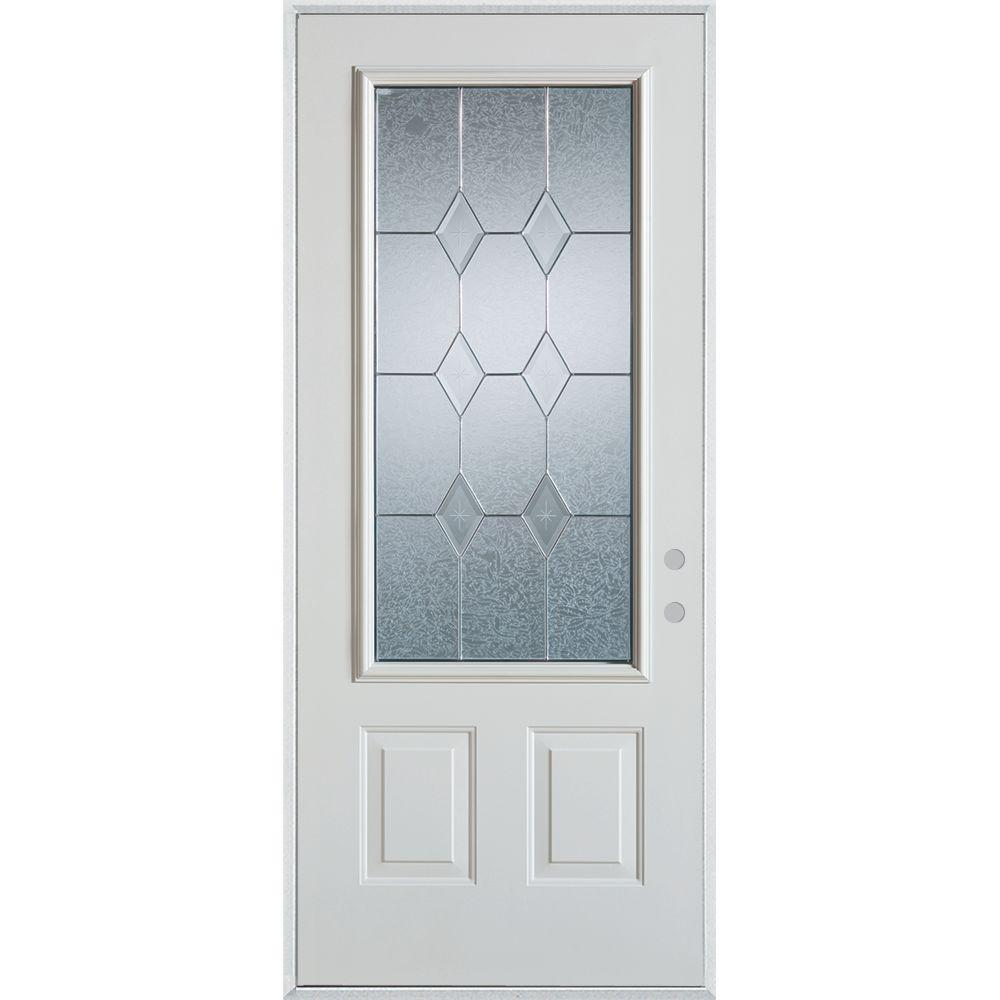 33.375 in. x 82.375 in. Geometric Zinc 3/4 Lite 2-Panel Painted