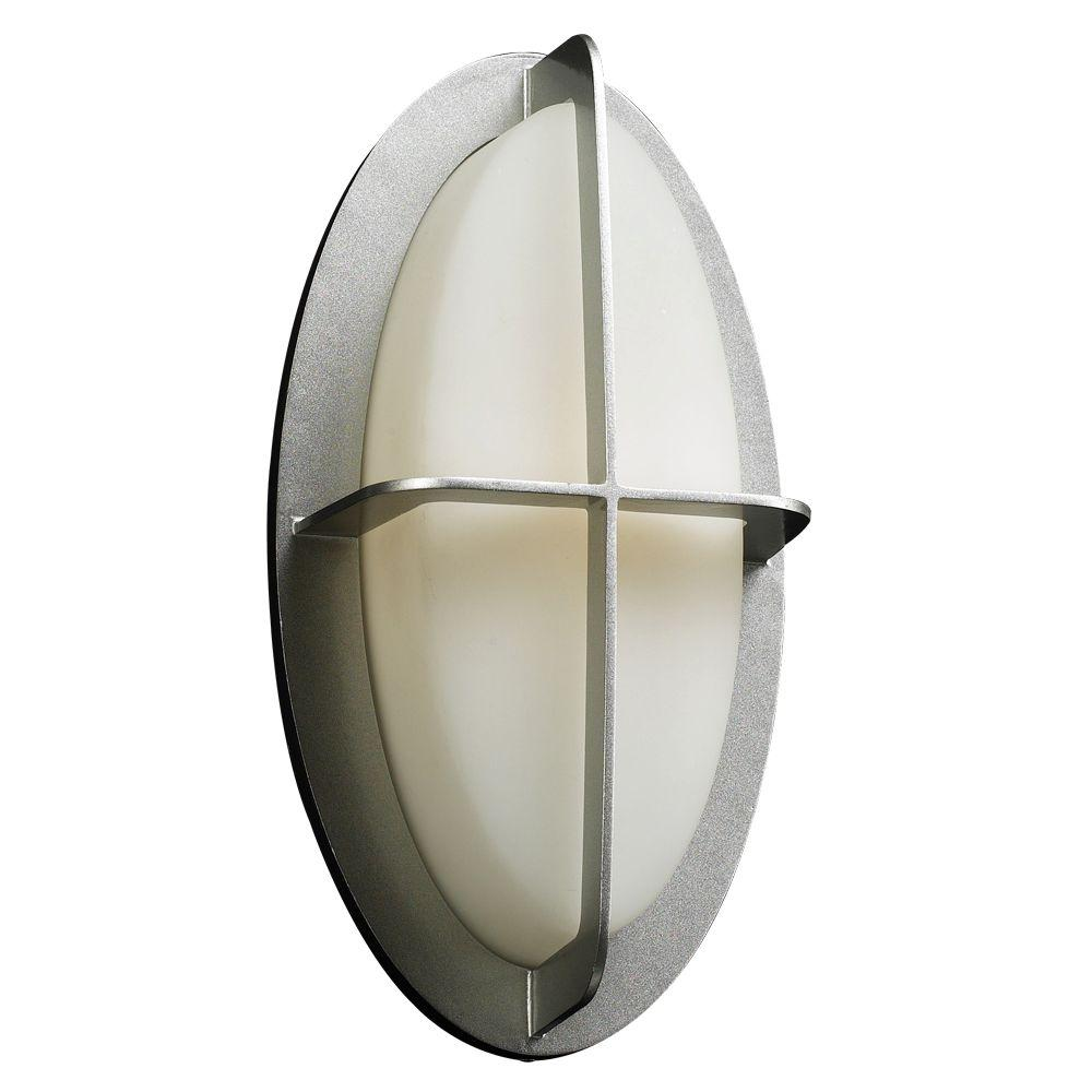 PLC Lighting 1-Light Outdoor Silver Wall Sconce with Matte Opal Glass-CLI-HD8016SL - The Home Depot