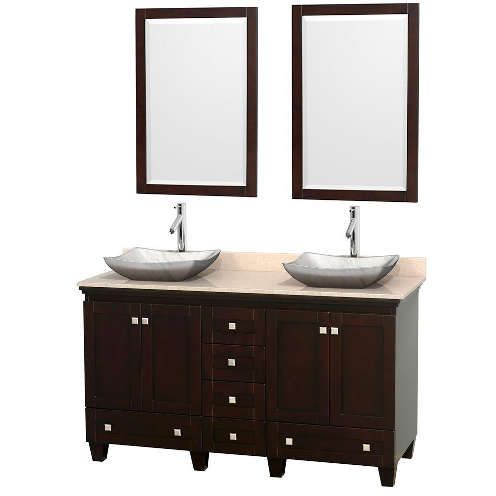 Acclaim 60 in. W Double Vanity in Espresso with Marble Vanity