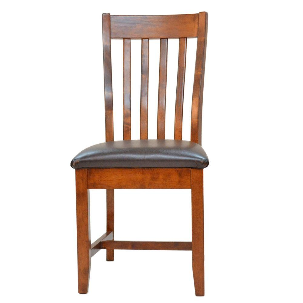 Carolina Cottage American Mission Leatherette Dining Chair in Oak