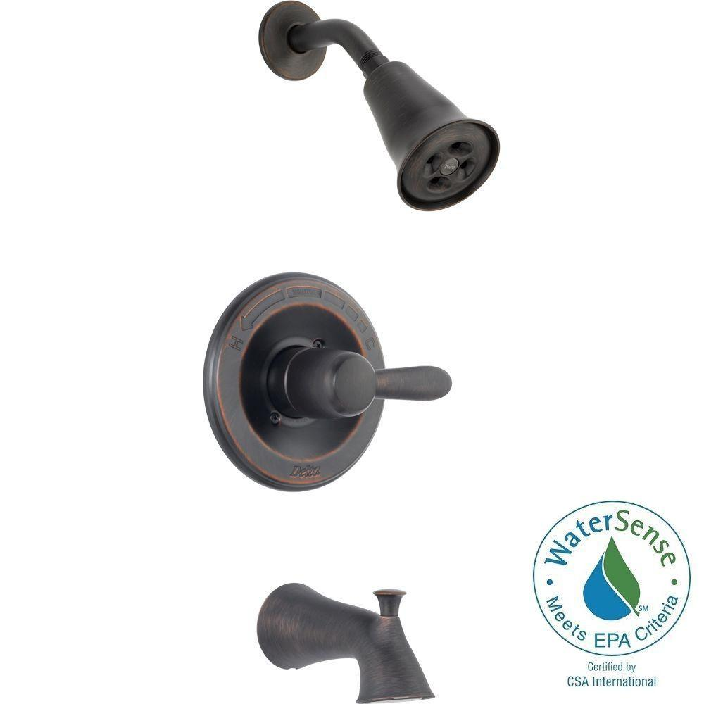 Delta Lahara 1-Handle 1-Spray Tub and Shower Faucet Trim Kit in Venetian Bronze Featuring H2Okinetic (Valve Not Included)