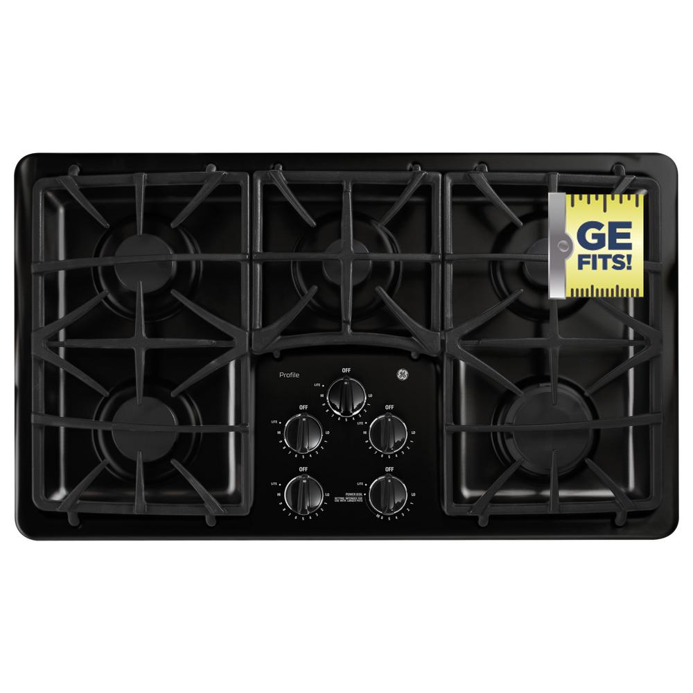 36 in. Gas Cooktop in Black with 5 Burners including Power