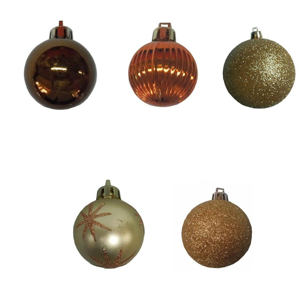 null 35 mm Brown and Gold Mini Ornament (Set of 20)