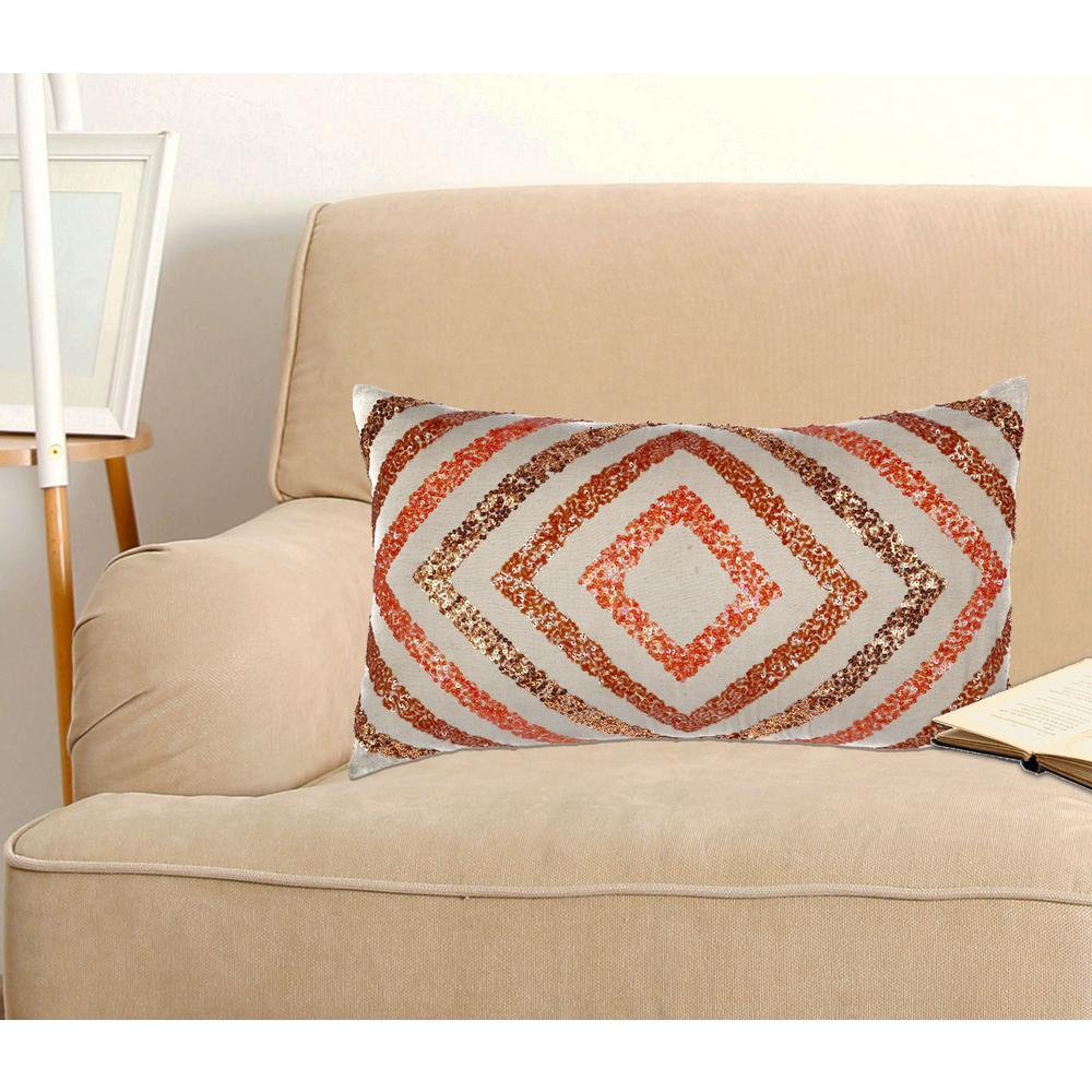 A1HC Handcrafted beaded Ombre Pillow 100% Orange Cotton Decorative Pillow