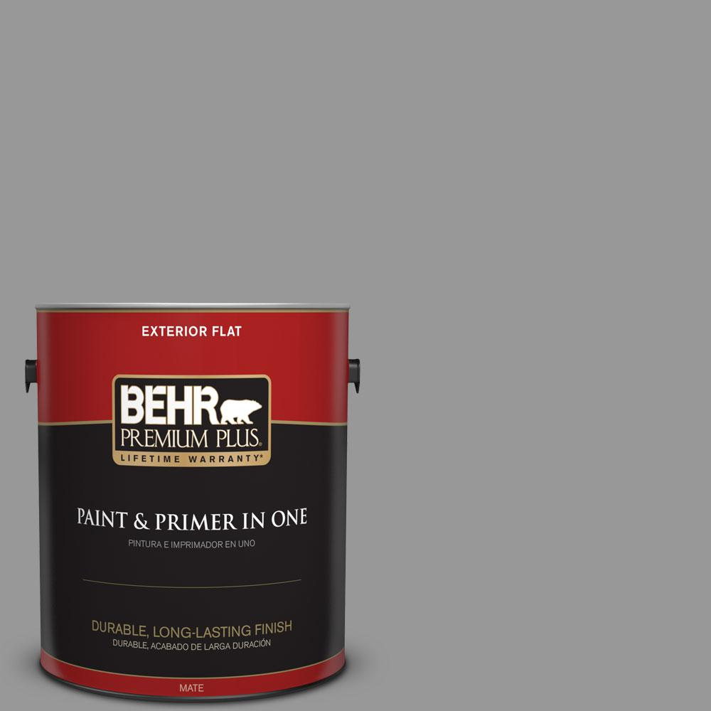 BEHR Premium Plus 1 gal. #HDC-NT-10A Dolphin Gray Flat Exterior Paint-440001