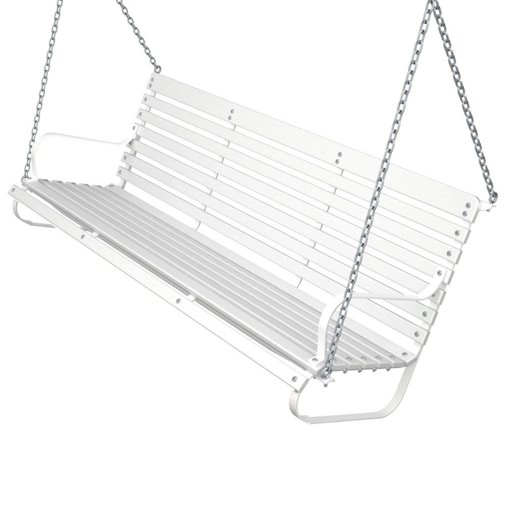 Ivy Terrace 60 in. White and White Patio Swing-DISCONTINUED