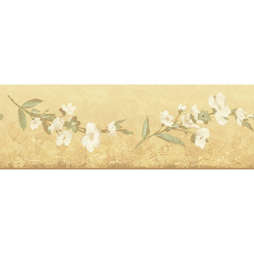 The Wallpaper Company 6.83 in. x 15 ft. Yellow Transitional Blossom Border