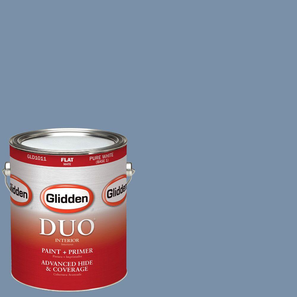 Glidden DUO 1-gal. #HDGV25D At Peace Blue Flat Latex Interior Paint with Primer