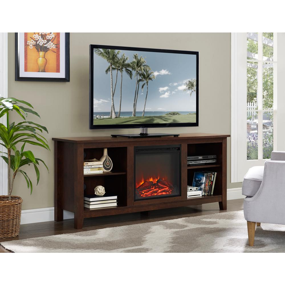 Walker Edison Furniture Company 58 In Wood Fireplace Media Tv Stand Console Traditional Brown