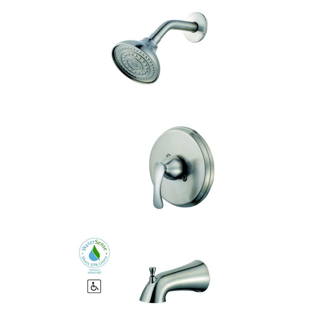 Glacier Bay Edgewood Single-Handle 1-Spray Tub and Shower Faucet in Brushed Nickel