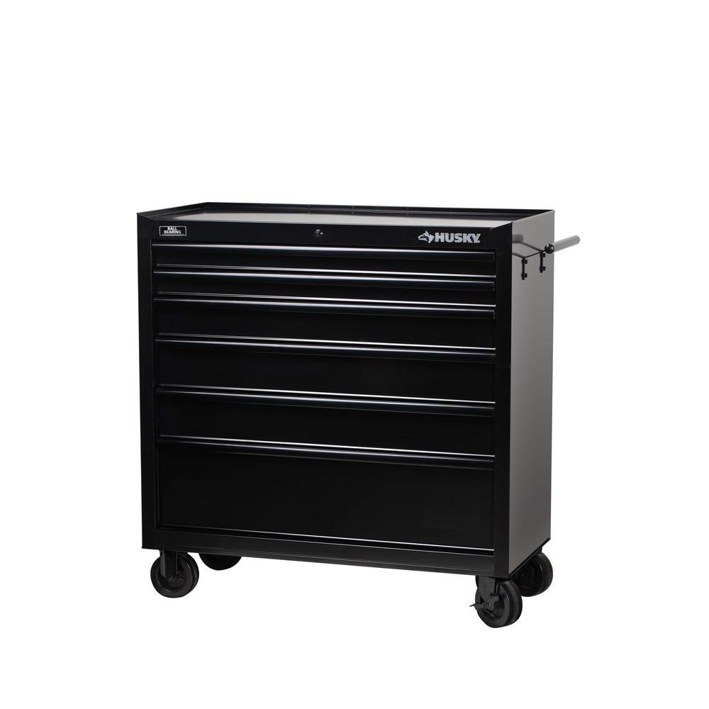Husky 40 in. W 6-Drawer All Tool Cabinet, Black