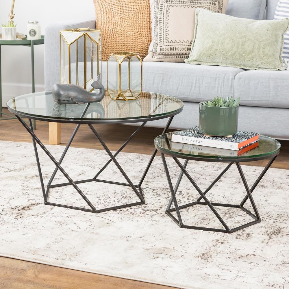 Walker Edison Furniture Company Geometric Glass Nesting Coffee Tables In Black Hdf28clrggbl