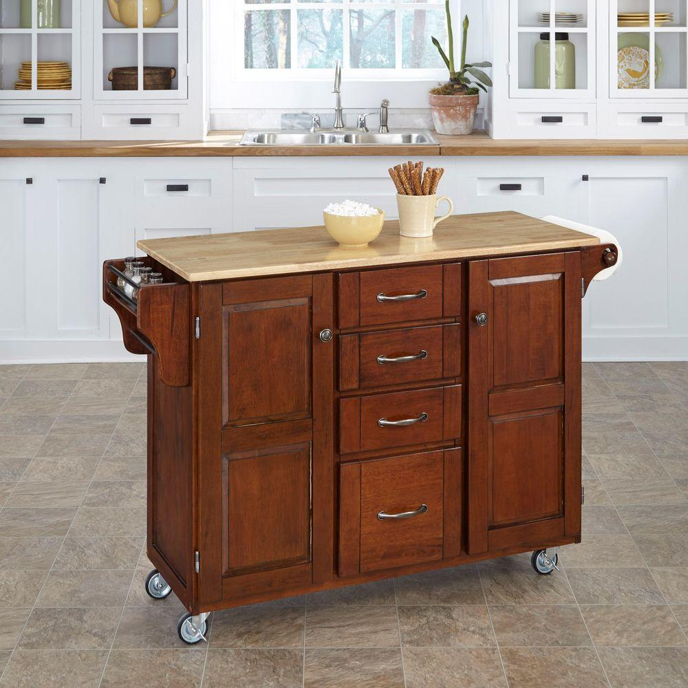 Home Styles Large Create-a-Cart in Cherry with Natural Wood Top
