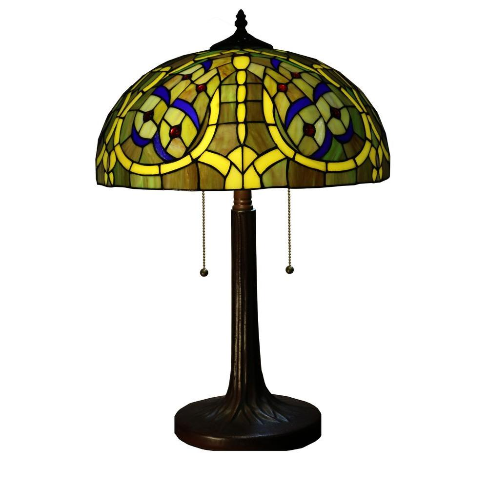 Molina 24 in. Bronze Indoor Tiffany-Style Table Lamp with Earthly Dragonfly