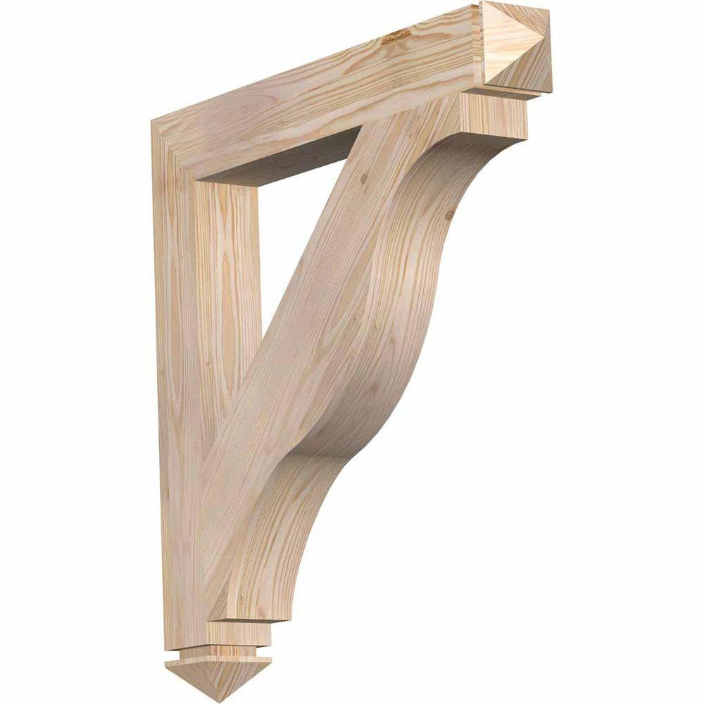 Ekena Millwork 3.5 in. x 28 in. x 28 in. Douglas Fir Funston Arts and Crafts Smooth Bracket