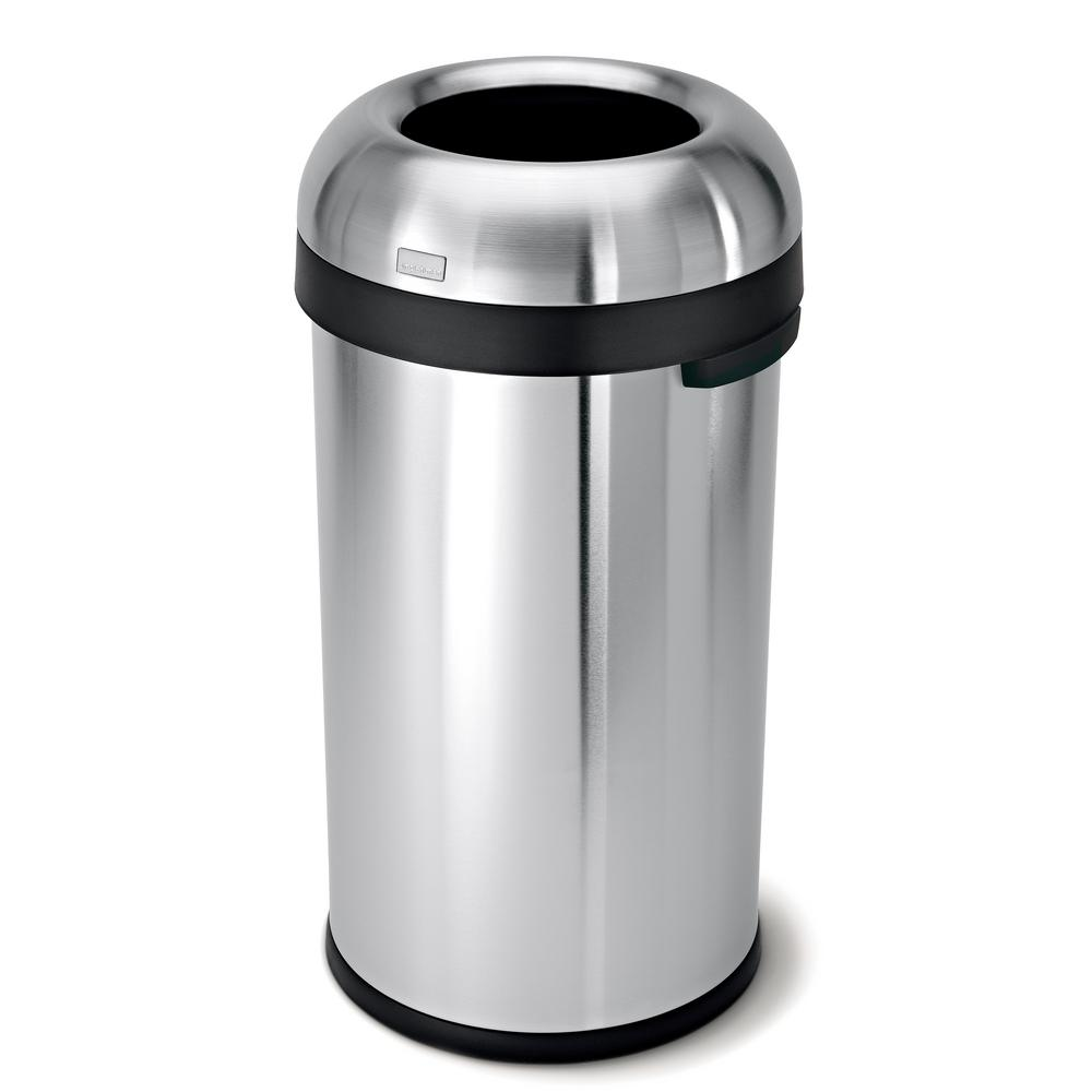 simplehuman 60 l Brushed Stainless Steel Bullet Open Top Trash Can