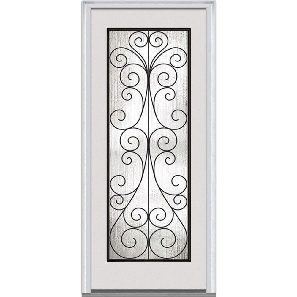 Milliken Millwork 36 in. x 80 in. Camelia Decorative Glass Full Lite Primed White Builder's Choice Steel Prehung Front Door
