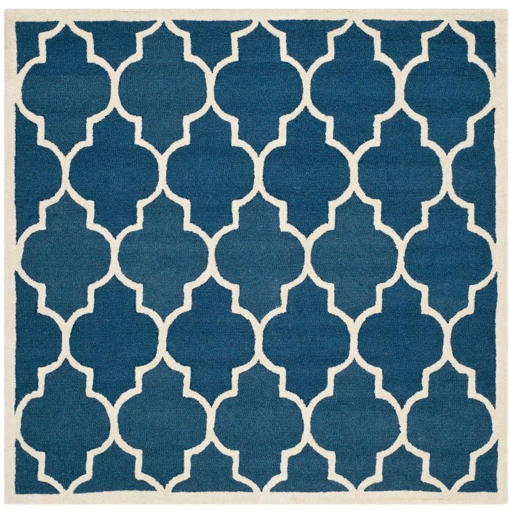 Cambridge Navy/Ivory 4 ft. x 4 ft. Square Area Rug