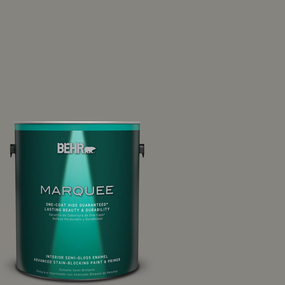 1 gal. #PPU24-07 Barnwood Gray Semi-Gloss Enamel Interior Paint