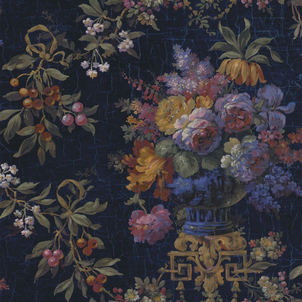 The Wallpaper Company 8 in. x 10 in. Blue Large Rose and Berries Floral Wallpaper Sample