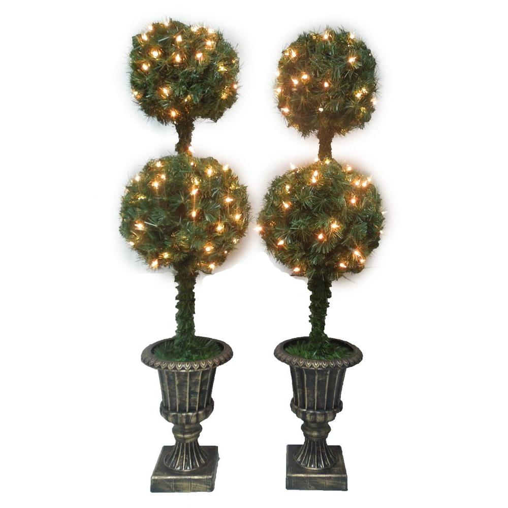 null 4 ft. Double Ball Artificial Topiary Entryway Tree (Set of 2)