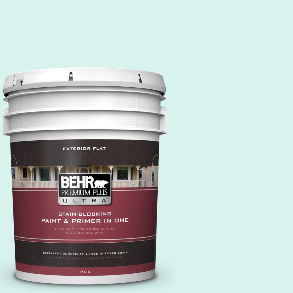 BEHR Premium Plus Ultra 5-gal. #480A-1 Minted Ice Flat Exterior Paint