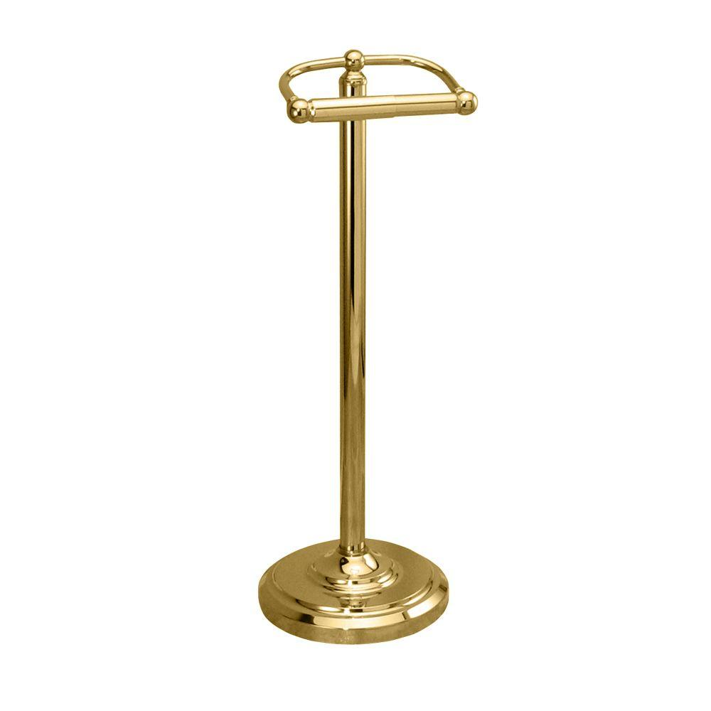 Double Post Toilet Paper Holder in Polished Brass