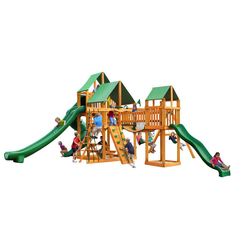 Treasure Trove II Swing Set with Amber Posts and Deluxe Green