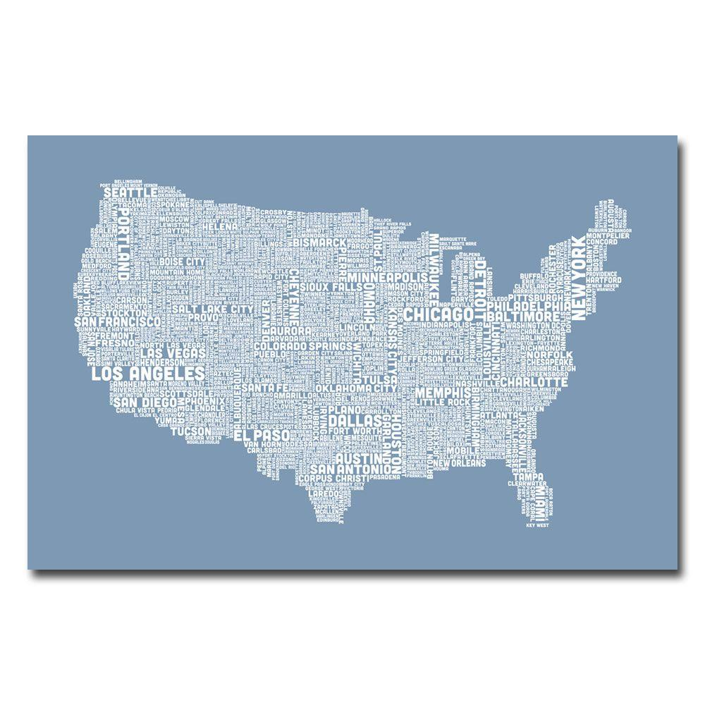 16 in. x 24 in. US City Map XII Canvas Art