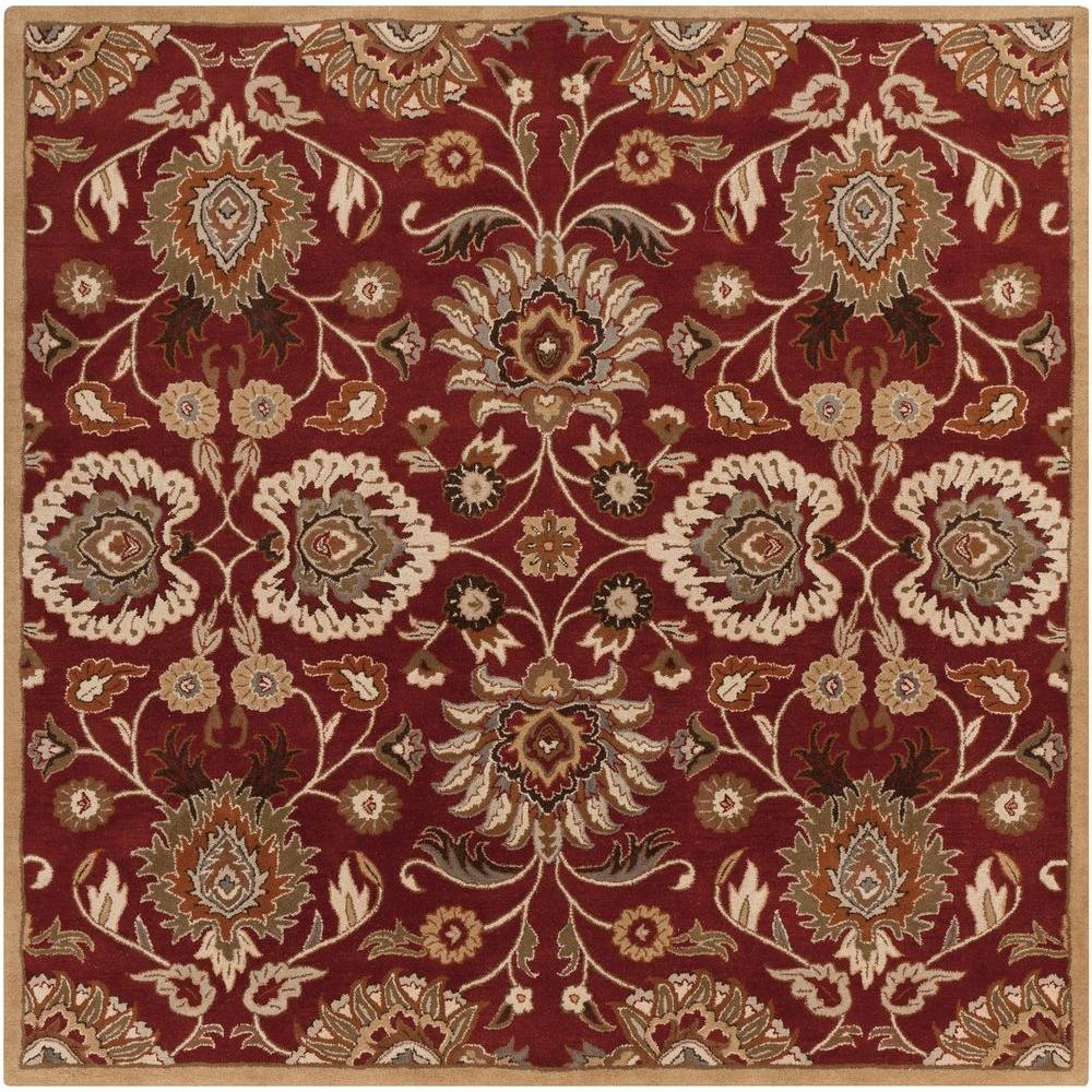 Cambrai Burgundy (Red) 6 ft. x 6 ft. Square Indoor Area Rug