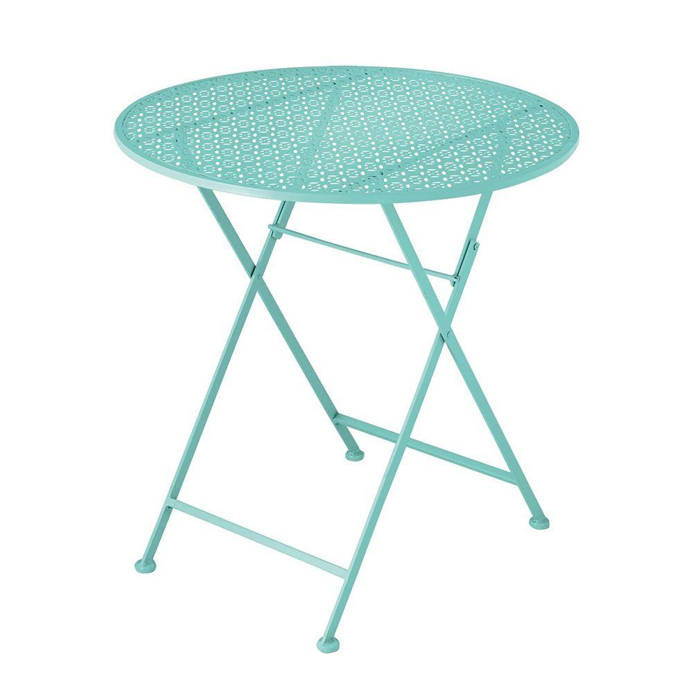Sundry Mint Punch Pattern Metal Patio Table