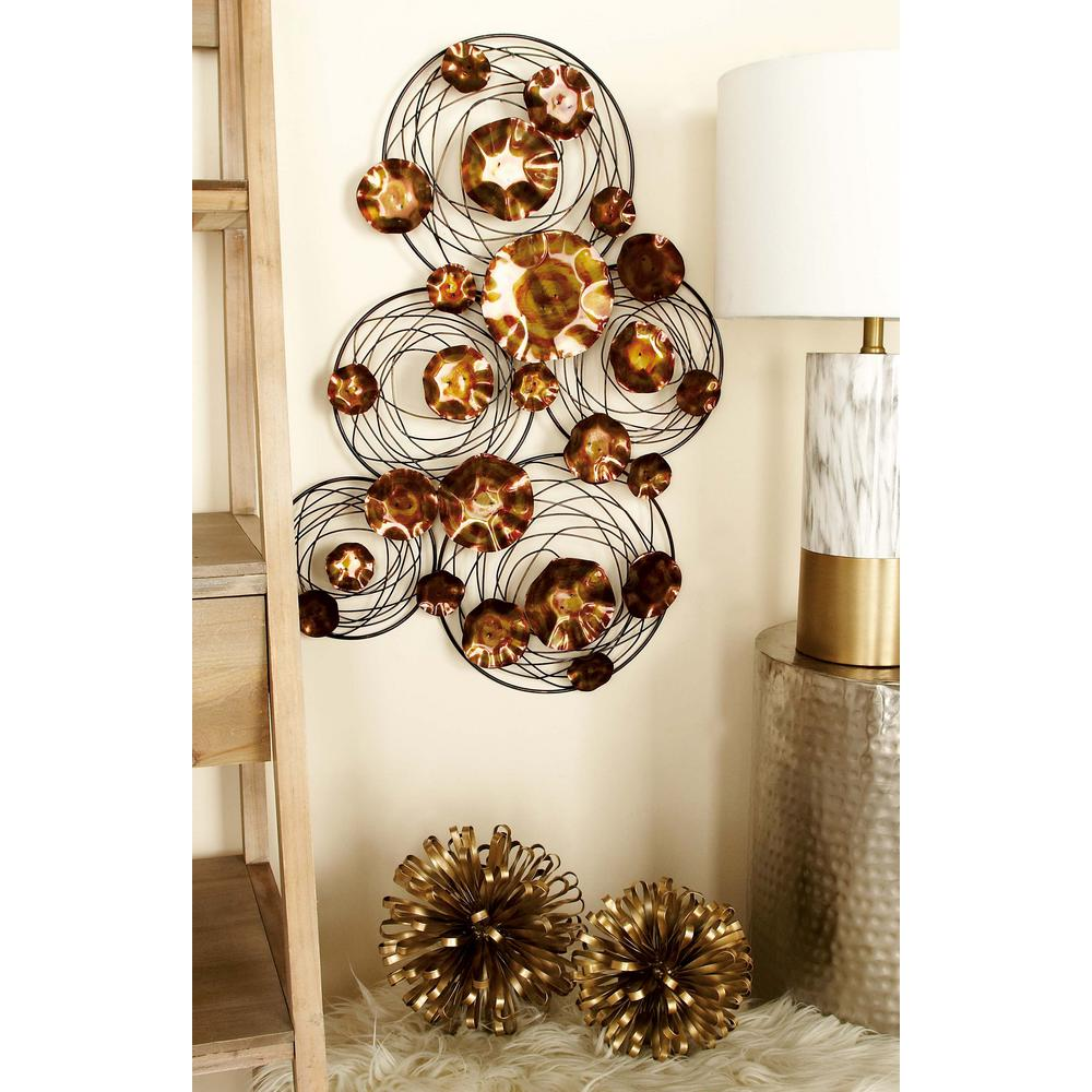 Gold Iron Wall Decor : In modern copper gold iron rings and spirals