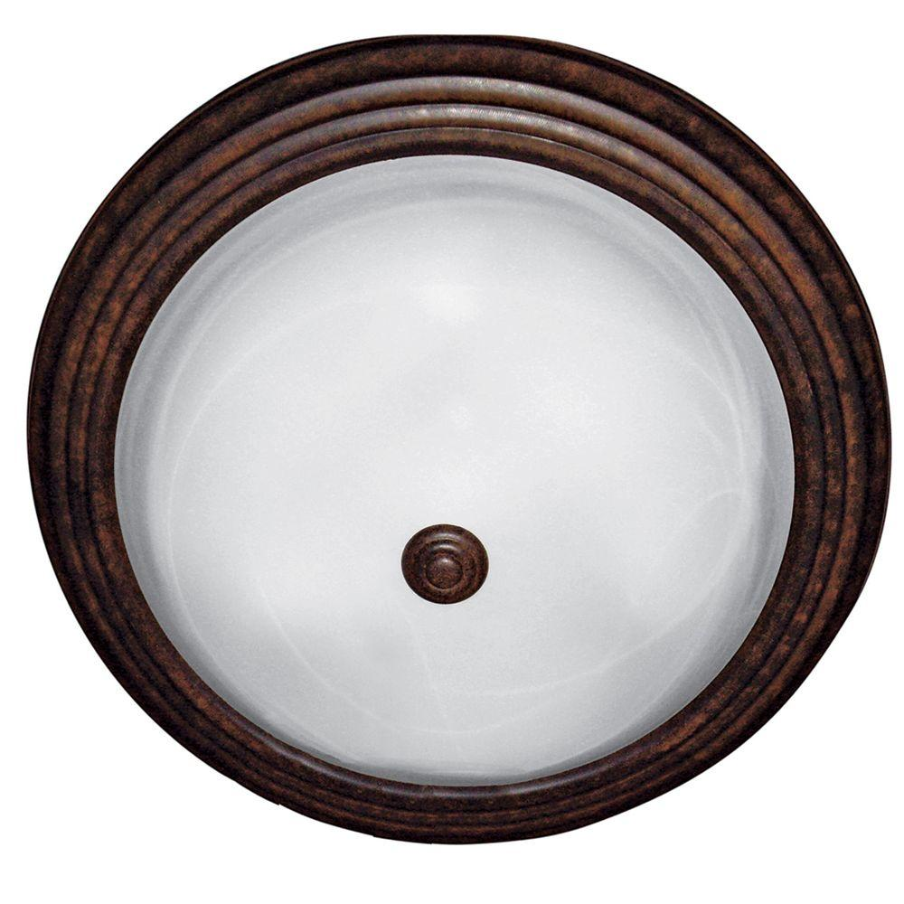Yosemite Home Decor 3-Light Dark Brown Flushmount with White Marble Glass Shade