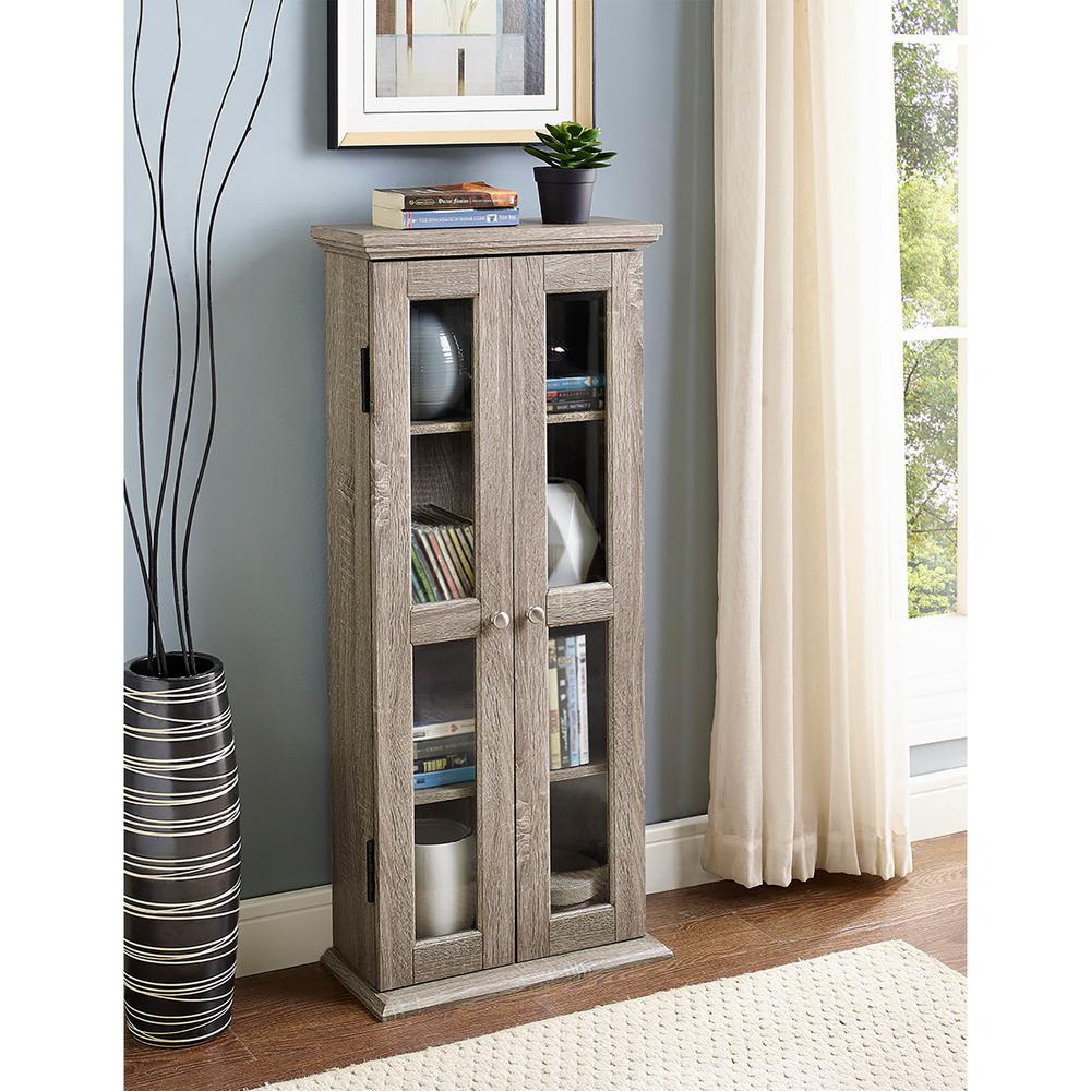 Walker Edison Furniture Company 41 In Wood Media Tower Cabinet In Driftwood Hdt41ag The Home