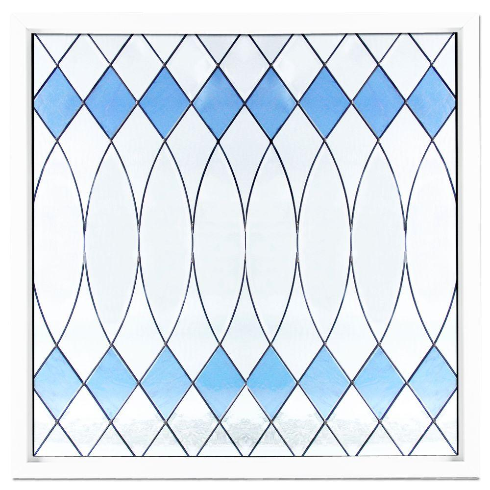 Hy-Lite 47.5 in. x 47.5 in. Black Patina Caming Euro Blue Pattern Decorative Glass White Vinyl Fin Picture Window-DISCONTINUED