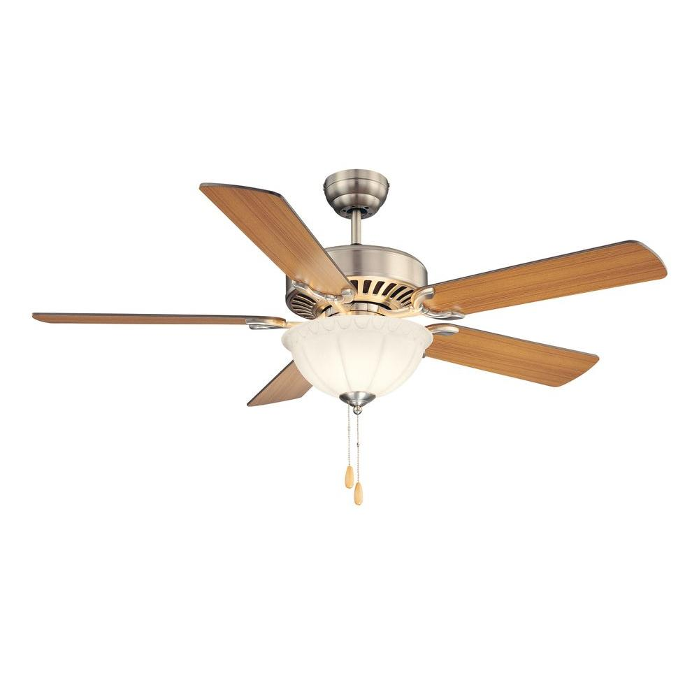 52 in. Satin Nickel Ceiling Fan with White Frosted Glass