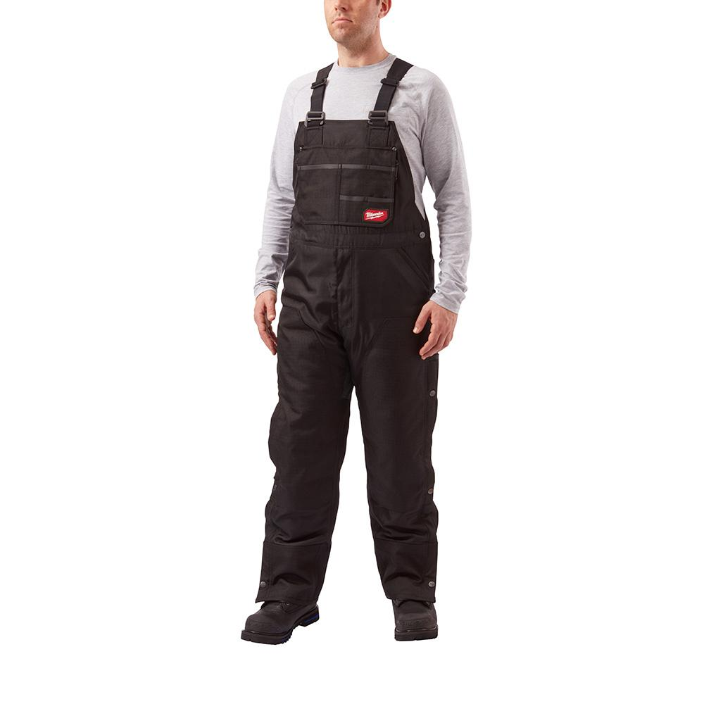 GRIDIRON 2XL (Tall) Black Zip-to-Thigh Bib Overall