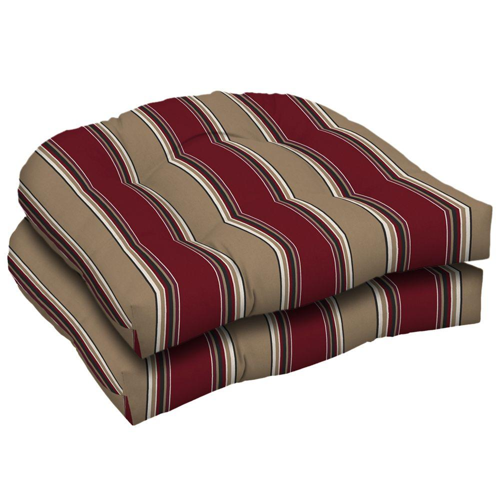 Arden Hancock Chili Wicker Tufted Seat Pad (Pack Of 2)-DISCONTINUED